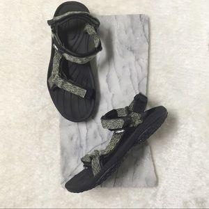 Teva Print Sandals Velcro Straps Sz 8.5 Black